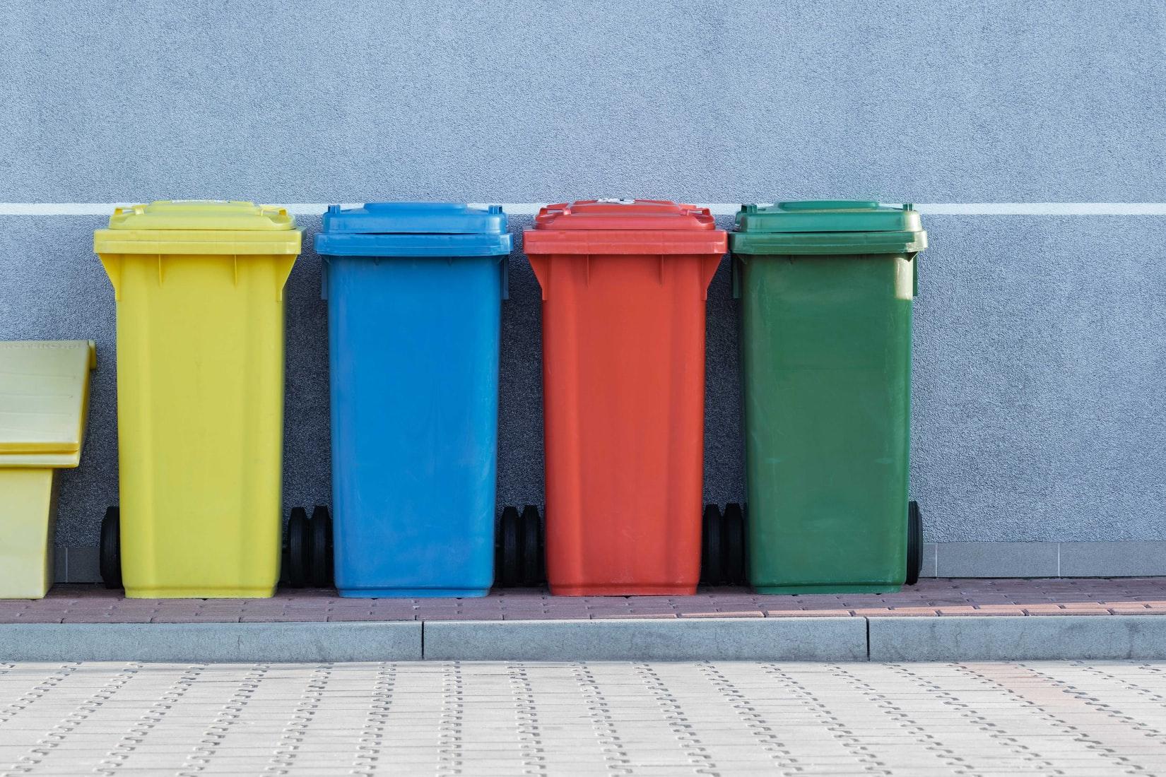 colorful trashbin