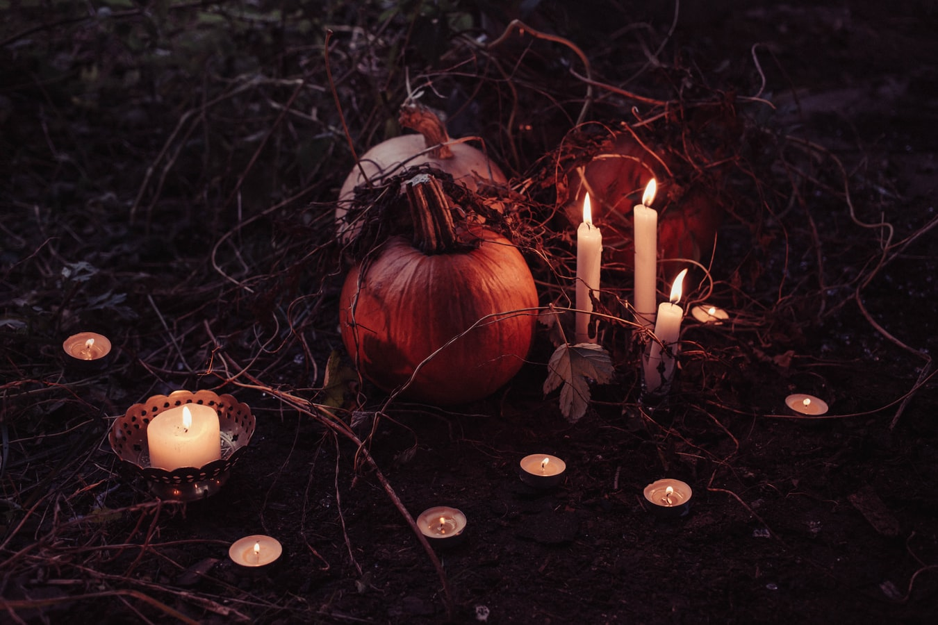 pumpkins and candle